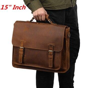 cc1a12c5af38 Роскошные мужские сумки из натуральной кожи Crazy Horse ручной работы,  Повседневная сумка для ноутбука 15 дюймов, большой винтажный кожаный делов.