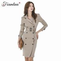Foamlina Office Blazer Dress Women Elegant OL Business Pencil Dress Notched Collar Long Sleeve Double Breated Work Bodycon Dress