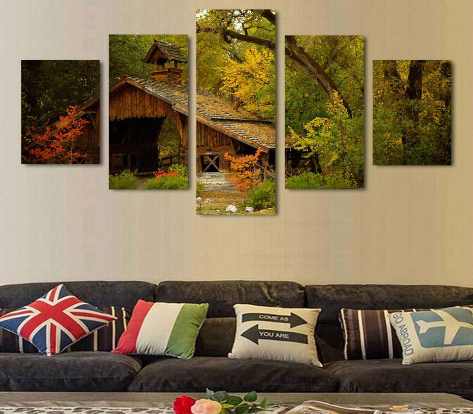 Wall Art Canvas Painting 2017 Hot Sale Poster The Wooden House in ...