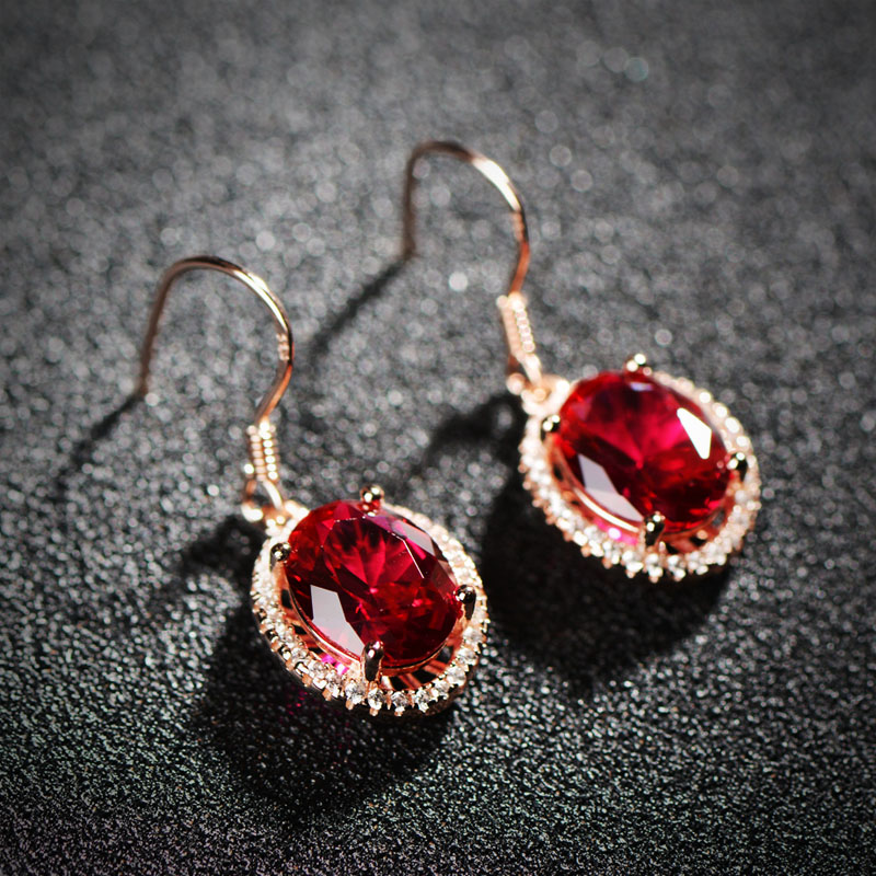 red Red corundum Natural semi precious stones gold Statement earrings female jewelry accessories wholesale girlfriend gift