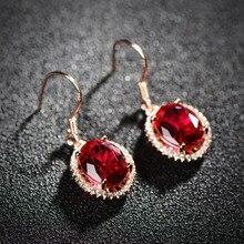 Rojo Rojo corindón Natural piedras semi-preciosas pendientes de oro Declaración accesorios de la joyería femenina al por mayor novia de regalo