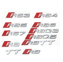 Chrome Matte Silver ABS Plastic Trunk Number Letters Badge Emblem Sticker for Audi RS3 RS4 RS5 RS6 RS7 RSQ3 RSQ5 RSQ7 R8 TTRS