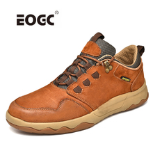 Купить с кэшбэком Natural Leather Men Shoes Sewing Light Weight Anti-slip Breathable Flats Shoes Classics Outdoor Casual Shoes Sneakers