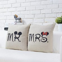 43cm*43cm Decorative Cartoon Mr Mrs Cotton Linen Pillow Case Cover Pillowcase For House New(China)