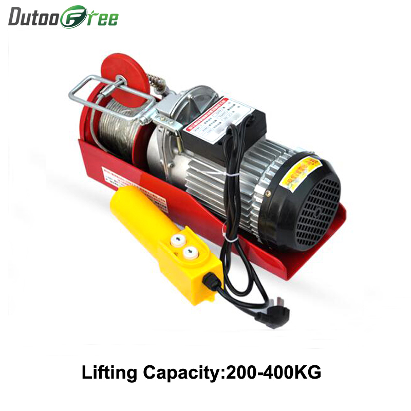 980W Mini Electric Hoist Crane Portable 200-400kg 12Meters Small Home Crane Renovation Crane 220V 12m/min
