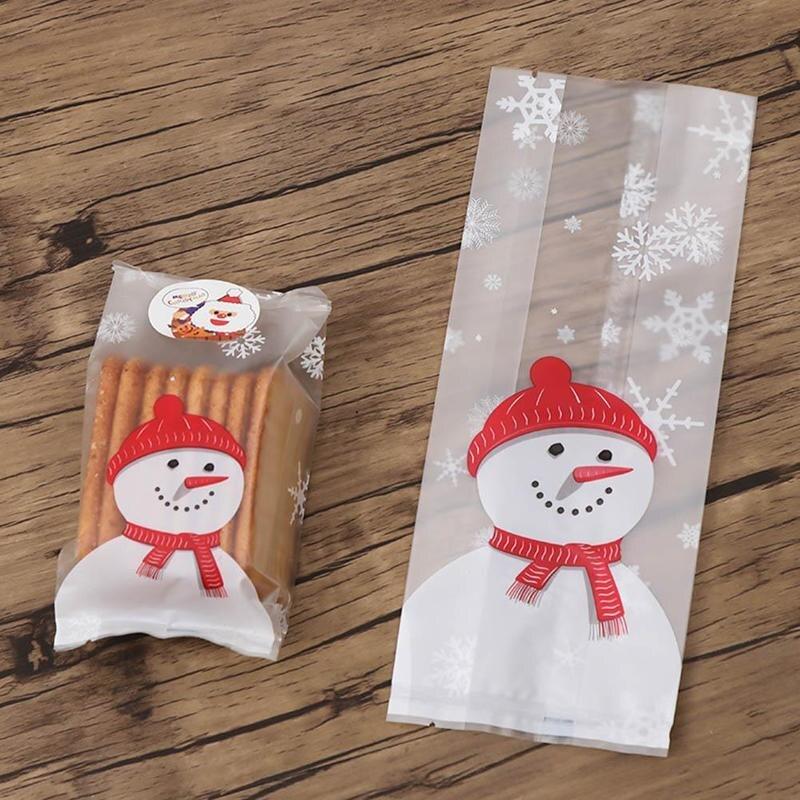 50Pcs Transparent Plastic Bag Christmas Bag Santa Claus Snowman Cellophane Cookie Fudge Candy Cookie Gift Bag Frosted Pouch Box