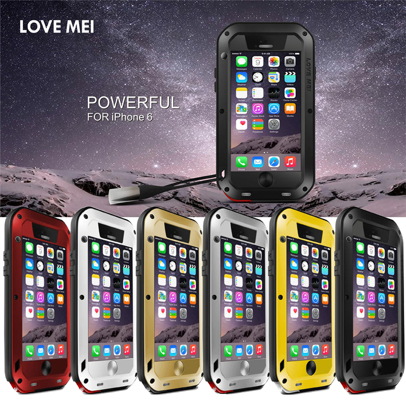 Love Mei case for iphone 6 4.7 Life is waterproof Shockproof metal cover cases for iphone 6 Tempered Glass phone case