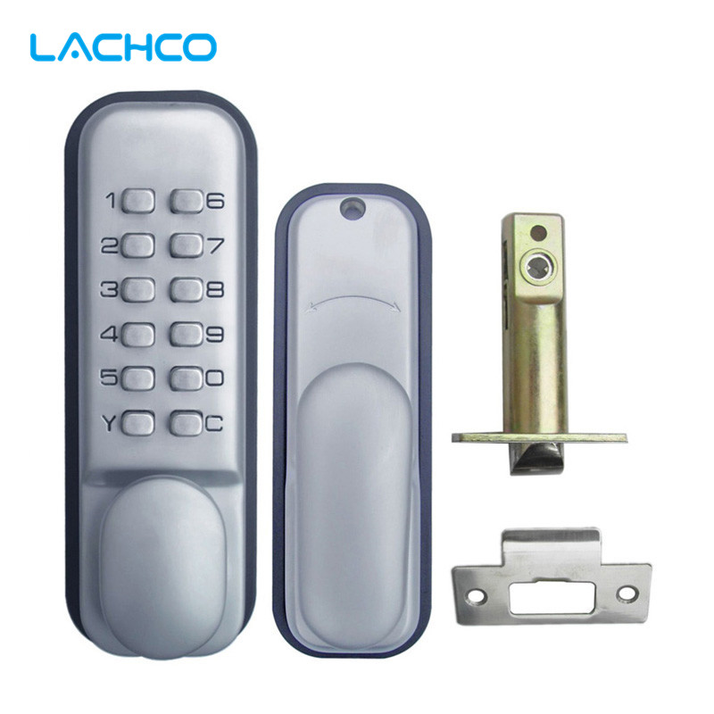 LACHCO Mechanical Code Lock Digital Machinery Keypad Password Entry Door lock Single Latch Zinc Alloy Silver L17003