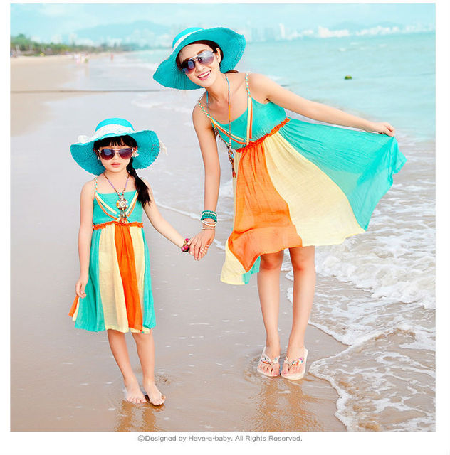 2e6ab4bf03 Authentic Mom and Daughter Dresses Colorful Vestidos New 2019 Dresses  Fashion Family Clothing Summer Beach Vacation Dress