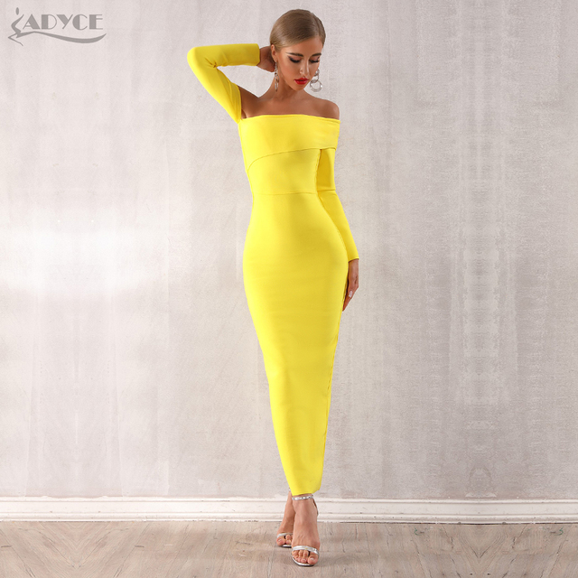 Adyce 2019 New Arrival Sexy Women Bandage Dress Long Sleeve Yellow Draped Off Shoulder Long Maxi Celebrity Evening Party Dresses 1