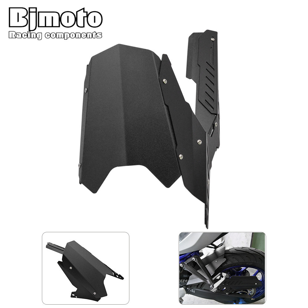 BJMOTO CNC Motorcycle Rear Fender Mudguard & Chain Guard Cover Kit For Yamaha YZF-R25 2013-2017 YZF-R3 MT-25 MT-03 2015-2017 motorcycle cnc aluminum mudguard rear fender bracket license plate holder light for yamaha yzf r25 r3 yzf r25 yzf r3