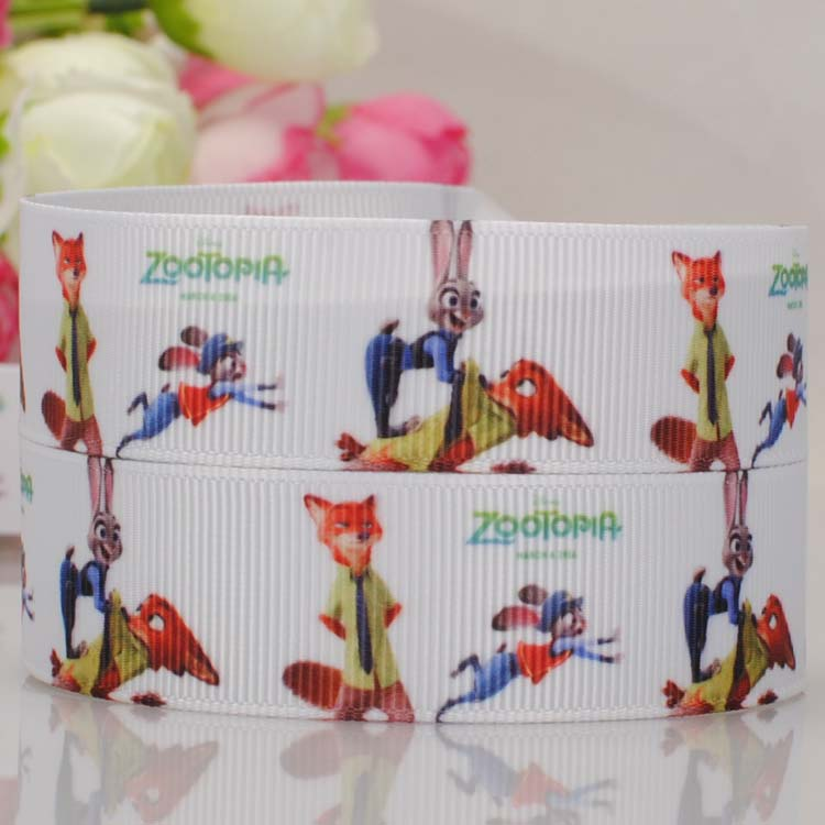 free shipping 50 yards hot cartoon Zootopia printed grosgrain ribbon gift ribbon party decoration clothes accessaries