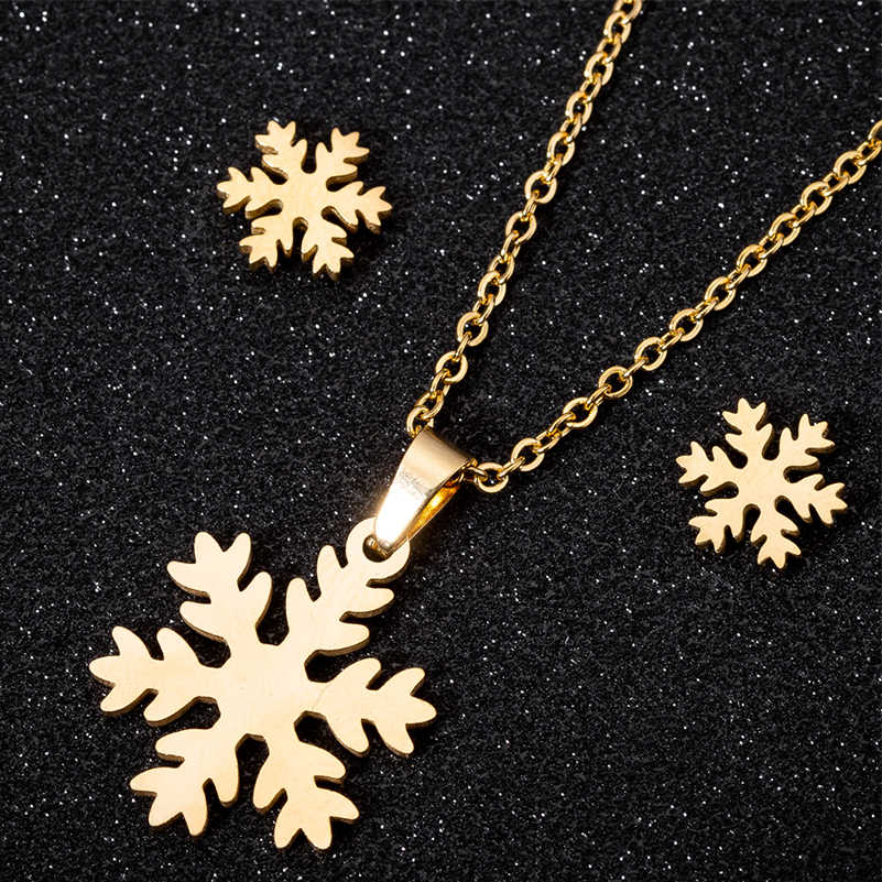 Shuangshuo New Snowflake Pendant Chocker Snow Flower Stud Earrings for Women Luck Jewelry Christmas Gifts for Girls Lovers