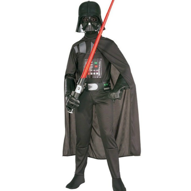 ROSASSY Star Wars Darth Vader Cosplay Costume for Kids Child Boy Black Jumpsuit Clothing with Caper Halloween Christmas Costumes