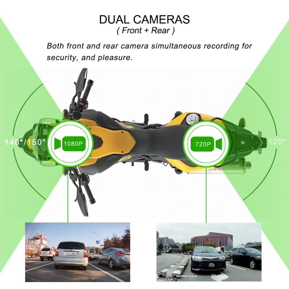 SYS VSYS M6L P6L WiFi Motocicleta DVR Traço Cam Full HD 1080 P + 720 P Frente Retrovisor À Prova D' Água motocicleta Câmera Black Box Recorder - 4