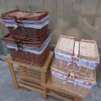 Big Vintage Wicker Picnic Basket With Lid and Handle Food Bread Folding Picnic Basket Hamper Woven Ratton Fruit Storage Basket