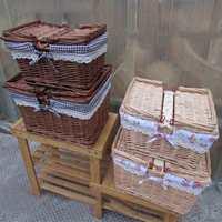 Big Vintage Wicker Picnic Basket With Lid and Handle Food Bread Folding Picnic Basket Hamper Woven Ratton Fruit Storage Basket