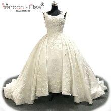 שמלות כלה אפליקציות תחרה לבנה 2018 יוקרה 3D VARBOO_ELSA אישית כלה שמלת vestido דה noiva שמלת כלה פנינים