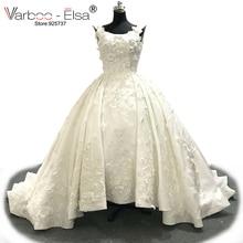 VARBOO_ELSA 2018 Sang Trọng Màu Trắng Ren 3D Appliques Wedding Dresses Tuỳ Bridal Wedding Gown Pearls Wedding Dress vestido de noiva