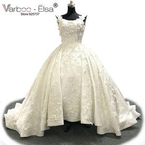 Image 1 - Роскошное белое кружевное свадебное платье varboo_эльза 2018 с 3D аппликацией, свадебное платье по индивидуальному заказу, женское свадебное платье