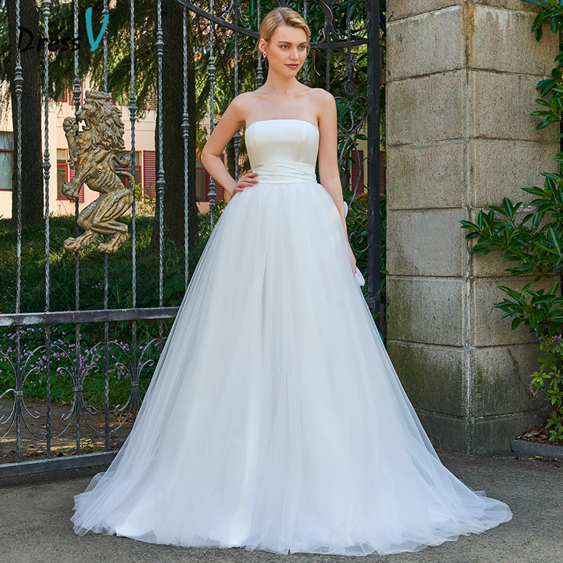 dressv elegant long wedding dress strapless chapl train zipper up bridal gowns outdoorchurch ball gown wedding