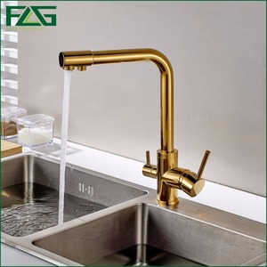 Image 2 - FLG 100% נחושת זהב סיים סיבוב שתיית מים ברז 3 דרך מים מסנן מטהר מטבח ברזי עבור כיורים ברזי 242 33B