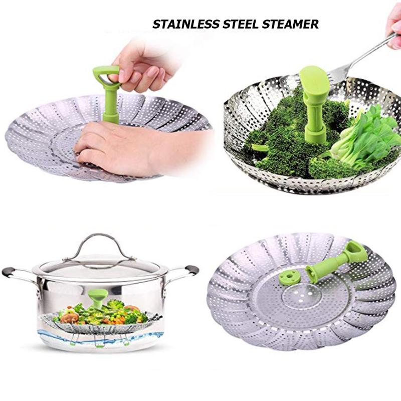 Folding Steamer Stainless Steel Food Fruit Vegetable Basket Kitchen Tools Multifunction Home Kitchen Supplies