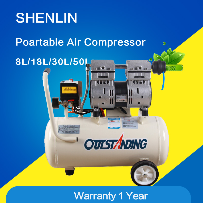 Portable air compressor air pressure regulator 0.7MPa pressure,8L air pool cylinder,compressed air supply,noisy less oil free v2065 12 5 oil free air compressor headair compressor cylinder head exported to 58 countries belt driven air compressor head