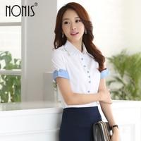 Nonis Fashion V Neck Short Sleeve Slim Women Shirt Formal Business Puff Sleeve Blouse Office Ladies