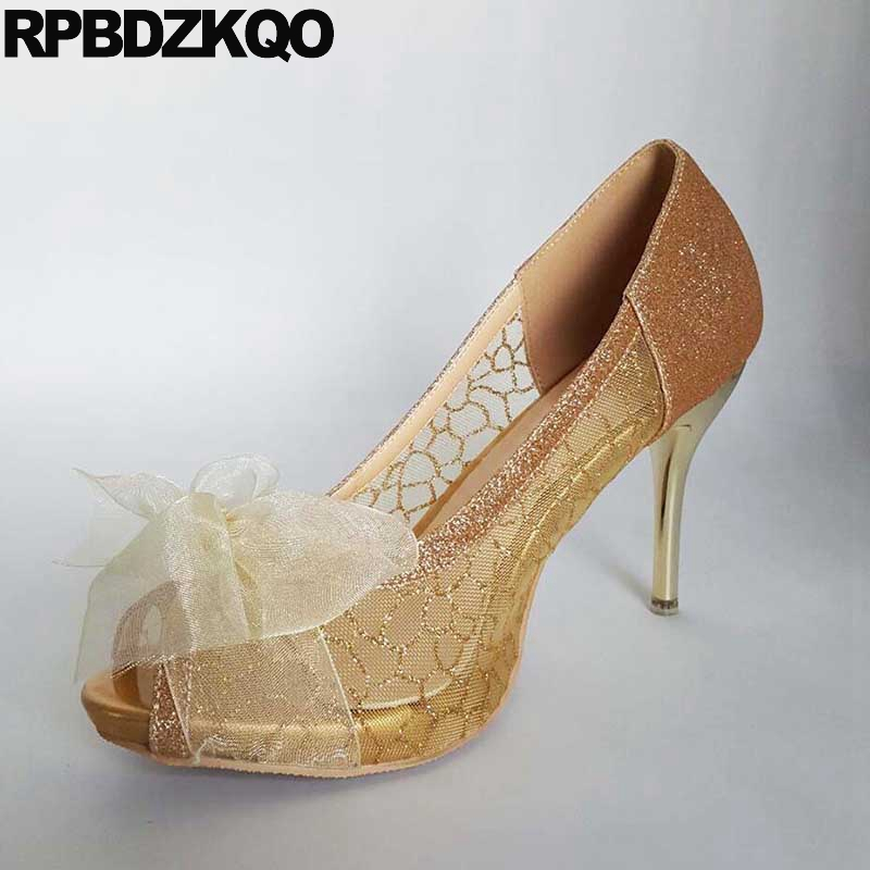 Peep Toe 11 43 Pumps Wedding Silver High Heels Sandals Bridal Glitter Women Size 33 10 42 Plus Bow Lace Shoes Thin Ribbon Gold facndinll women wedding party shoes fashion high heels peep toe glitter platform shoes woman pumps silver gold plus size 34 43