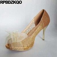 Srebrne Szpilki Sandały Peep Toe 11 43 Pompy Ślubne Bridal Glitter kobiet Rozmiar 33 10 42 Plus Łuk Koronki Buty Cienka Wstążka Złota