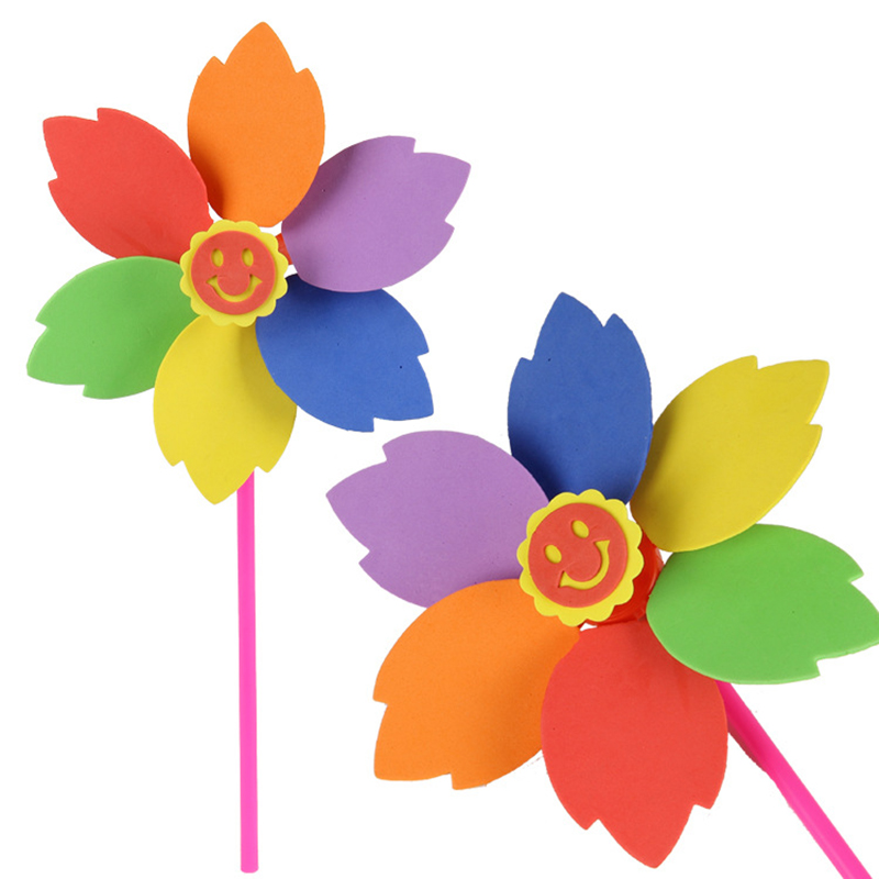 Smile Face Colorful Windmill Baby Rainbow Flower Wind Spinner Nylon Fabric/Plastic Classic Windmill Crafts DIY Toy P15