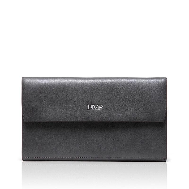 BVP - Luxury Brand High-end Simple Elegant Fashion Top Grain Leather Wrist Clutch Handbag Man Big Wallet Hand Bag J30 bvp high end 100