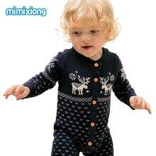 Weihnachtsren strickte neugeborenes Baby-Jungen-Mädchen-Spielanzug-Overall-Winter-Kinderkostüm-lange Hülsen-Pyjama-Overalls für Kinder