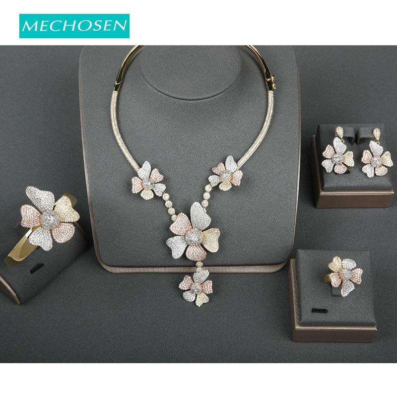 Meselected grand luxe 4 PC ensemble CZ Zircon fleur forme cuivre bijoux ensemble élégant collier bracelet anneau boucles d'oreilles nuptiale mariage ensemble