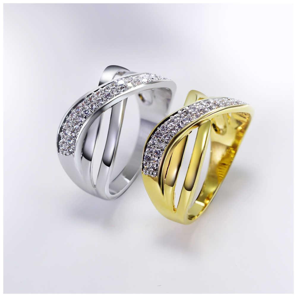 DC1989 Xỏ Stacking Ring cho Phụ Nữ Criss-Crossed Thiết Kế hoặc Rhodium Mạ Vàng Zircon Paved Mulheres Anillos Kích Cỡ 6 đến 10