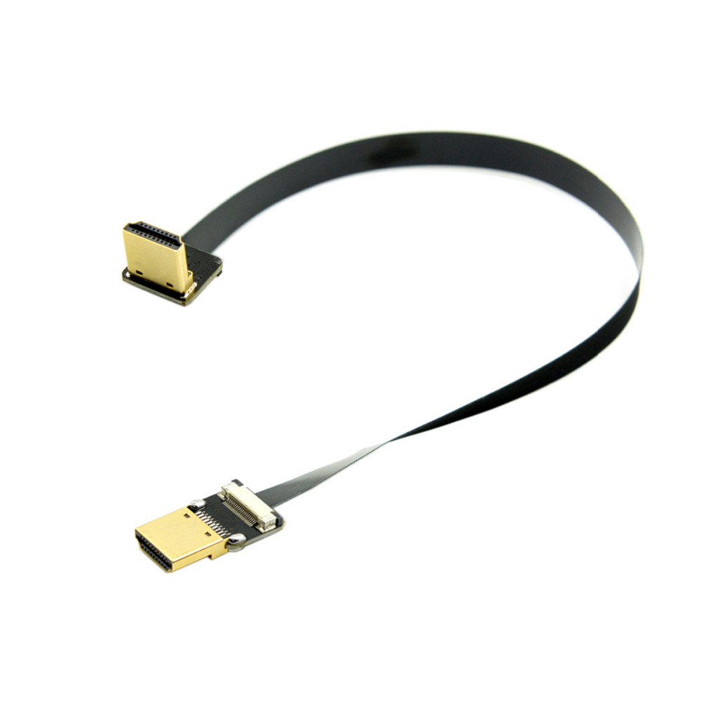 0 2M FPV HDMI Male 90 Degree Down Angled to HDMI Male HDTV FPC Flat Cable for Multicopter Aerial Photography in HDMI Cables from Consumer Electronics