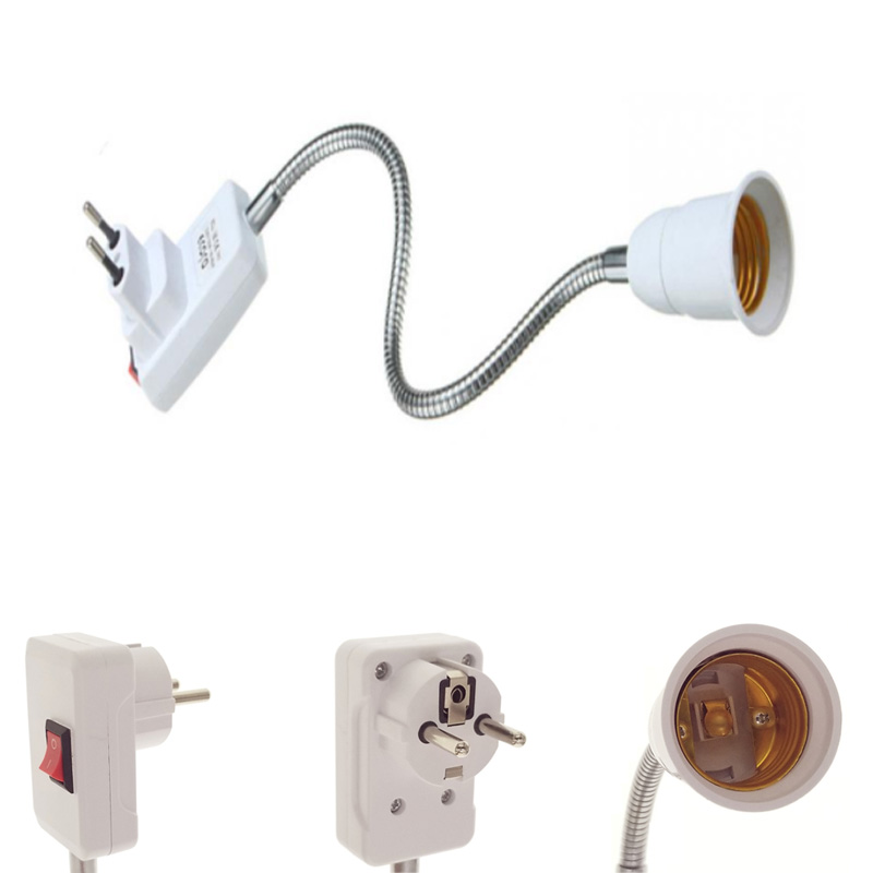 AC 110-220V 6A E27 Light Lamp Holder Flexible Extension Converter Switch Adapter Bulb Socket 10cm 30cm 50cm EU Plug