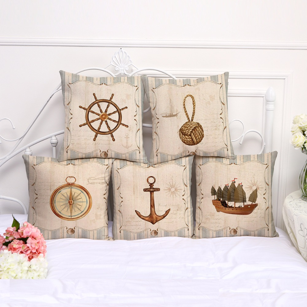 Gracious Home Decorative Pillows : Fashion Decorative Sailing Series Anchor Compass Cushions New European Style Throw Pillows Car ...