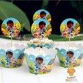 24 unids de dibujos animados Doc Mcstuffins magdalena wrappers y acolchados recoge decoración embroma la fiesta de cumpleaños favorece suministros casos AW-0033