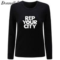 Donnalla Women T Shirt O Neck Long Sleeve Cotton Shirt Casual Basic Style Rep Your City