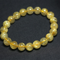 Wholesale Natural Genuine Yellow Gold Hair Needle Rutile Quartz Rutilated Finished Stretch Bracelet Round Jewelry beads
