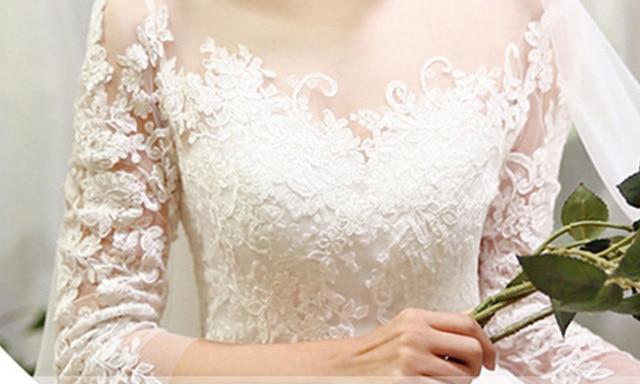 New Fashion Simple 2021 Wedding Dresses Lace Three Quarter Sleeve O-Neck Elegant Plus size Vestido De Noiva Korean Bride Gowns 5
