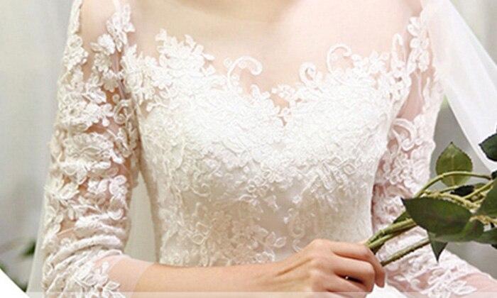 Image 5 - New Fashion Simple 2020 Wedding Dresses Lace Three Quarter Sleeve  O Neck Elegant Plus size Vestido De Noiva Bride Qwedding dress  lacevestido de noivavestido de noiva plus