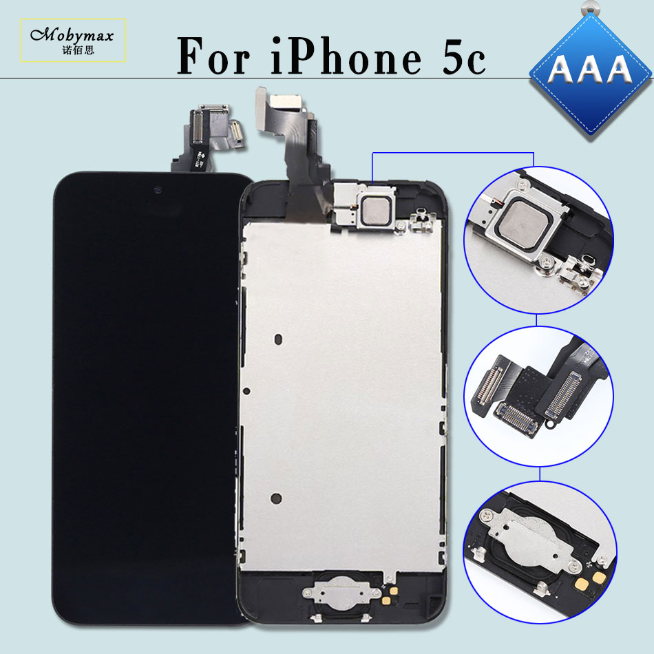 Mobymax AAA Ecran Pantalla Display for iPhone 5C A1456 A1507 LCD Touch Screen Digitizer Full Assembly+Home Button+Front Camera ...