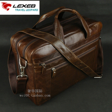 LEXEB Men's Leather Briefcase 17″ Laptop Large Capacity Business Travel Bag 43 CM Double Zips Open With Tow Main Bags Brown