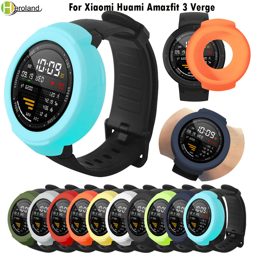 Colorful Protection Cover Case For Xiaomi Huami Amazfit 3 Verge Smart Watch Accessories Soft Silicone Frame Shell Durable Slim
