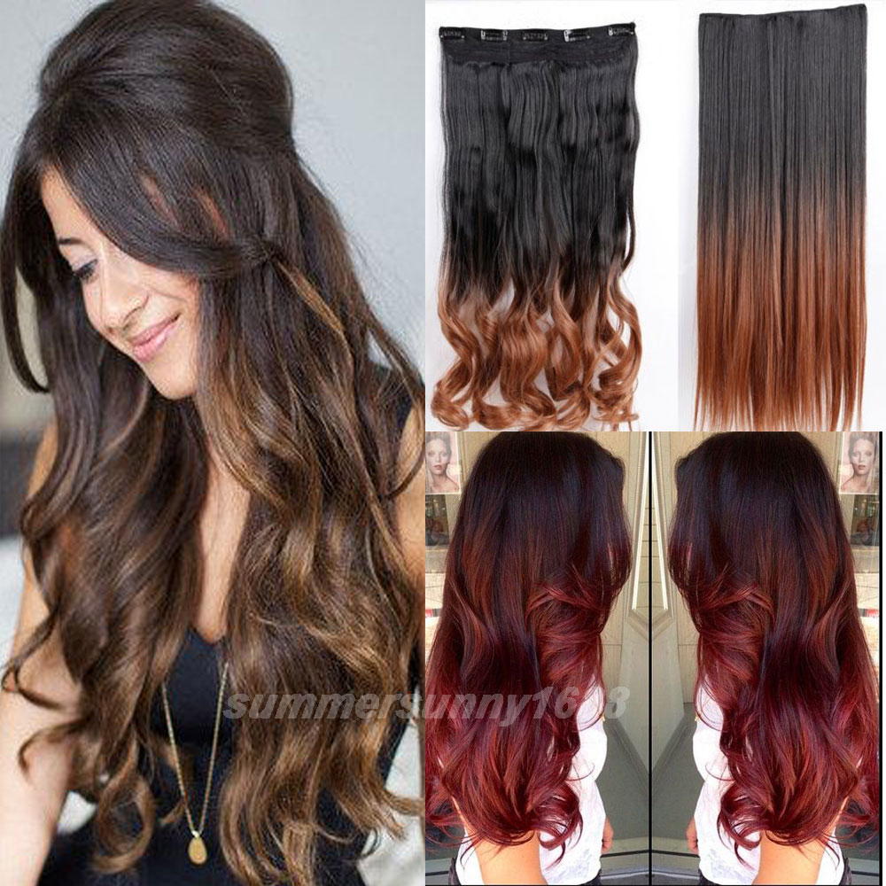Ombre hair extensions 5 clips in hair extension long 2325 ombre hair extensions 5 clips in hair extension long 2325 inches straight 100 real thick dip dye hairpiece local warehouse on aliexpress alibaba pmusecretfo Image collections