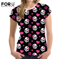 FORUDESIGNS High Quality Summer Cotton T Shirt Women Clothes 3D Harajuku Skulls Pattern Tops Tee Short Sleeve T-shirt for Ladies