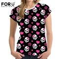 Forudesigns alta calidad del algodón del verano mujeres de la camiseta ropa 3d harajuku cráneos patrón tops camiseta de manga corta de la camiseta para las señoras
